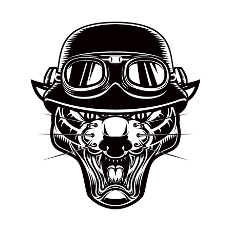 Illustration of pantera head in biker helmet. Design element for label, emblem, sign, poster, t shirt.