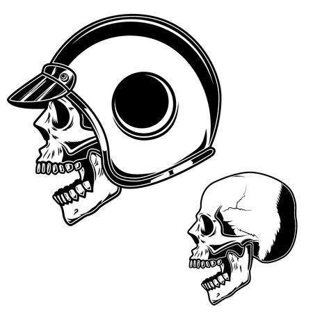 Biker skull in racer helmet. For logo, label, sign, poster, card. Vector image