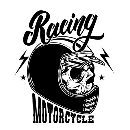 Motorcycle racing. Biker skull in racer helmet. For logo, label, sign, poster, card. Vector image