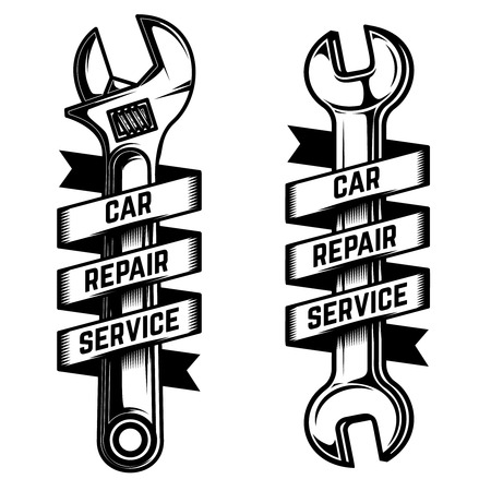 Car repair service emblem template. Wrench with ribbon banner. For logo, label, sign, poster, card. Vector illustration