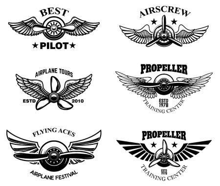 Set of vintage airplane show emblems. Design elements for  label, sign, menu. Vector illustration Illustration