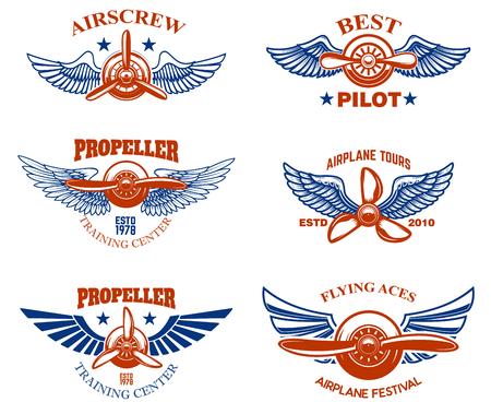 Conjunto de emblemas de espectáculo de aviones antiguos. Elementos de diseño para etiqueta, cartel, menú.