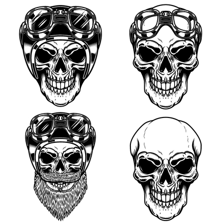 Biker skulls in racer helmet. For logo, label, sign, poster, card. Vector image