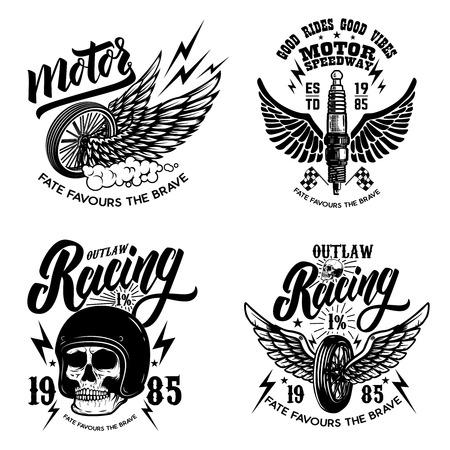 Set of racer emblem templates with motorcycle motor, wheels. wings. Design element for  label, emblem, sign, poster, t shirt. Vector illustration