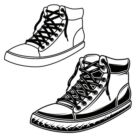 Illustration of skate sneakers. Design element for poster,card, banner, sign. Vector image