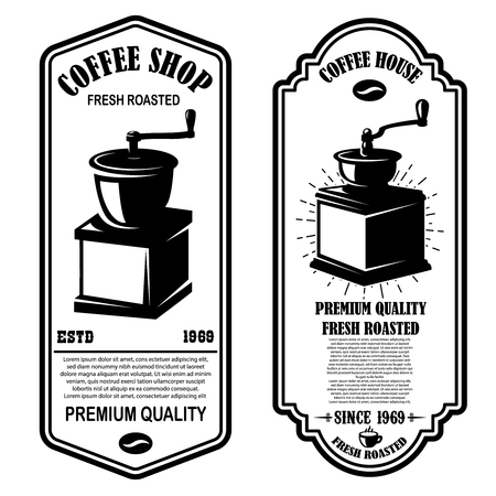 Vintage coffee shop flyer templates. Design elements for logo, label, sign, badge. Vector illustration Stockfoto - 126461877