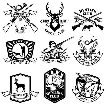 Set of hunting emblems. Hunting weapon, animals and design elements. Vector image