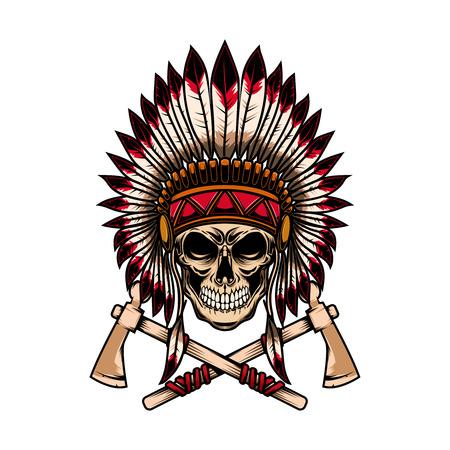 Cráneo de jefe indio nativo con hachas de guerra cruzadas sobre fondo blanco. Elemento de diseño de logotipo, etiqueta, emblema, signo. Ilustración vectorial Logos