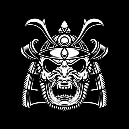 illustration of samurai helmet in tattoo style isolated on dark background. Design element for emblem, sign, poster, card. Vector image
