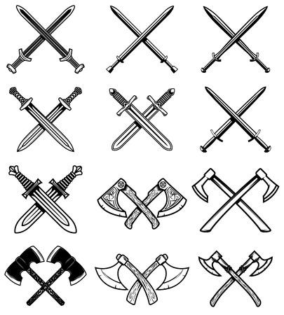 Set of ancient weapon. Knight swords, axes. Design element for label, emblem, sign. Vector illustration