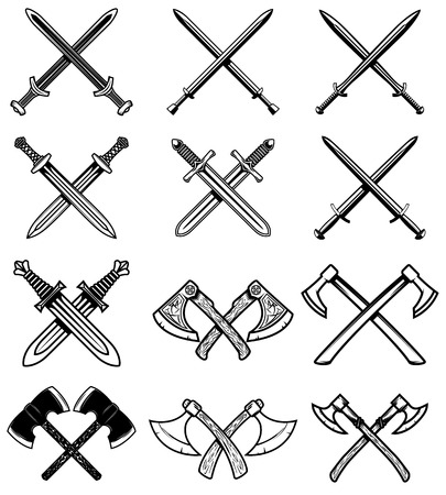 Set of ancient weapon. Knight swords, axes. Design element for label, emblem, sign. Vector illustration