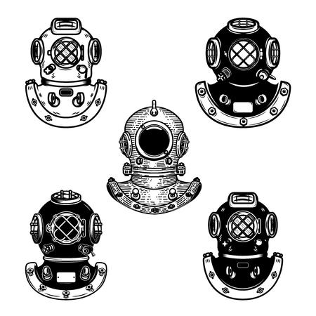 Set Vintage Taucherhelme. Gestaltungselement für Logo, Label, Emblem, Zeichen. Vektor-Illustration