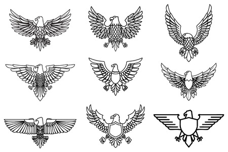 Set of eagle icons isolated on white. Design element for label, emblem, sign. Vector illustration Stock Illustratie