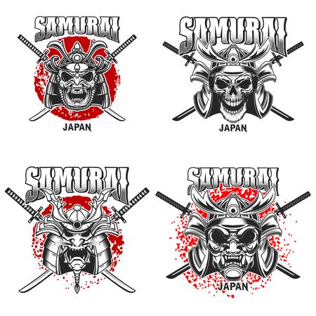 Emblem template with samurai helmet and crossed katanas on grunge background. Design element for logo, label, sign, poster, t shirt. Vector illustration