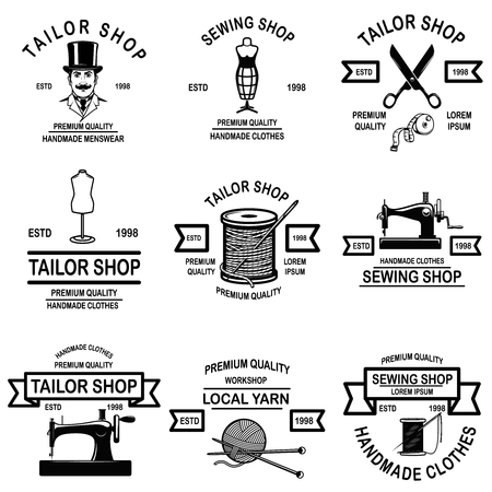 Set di emblemi di sartoria. Elementi di design per etichetta, segno, distintivo. Illustrazione vettoriale