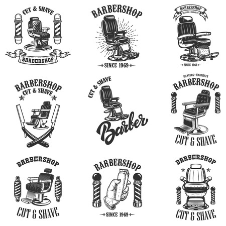 Set of vintage barber shop emblems with barber chair, badges and design elements.  for logo, label, sign. Vector illustration Reklamní fotografie - 115915315