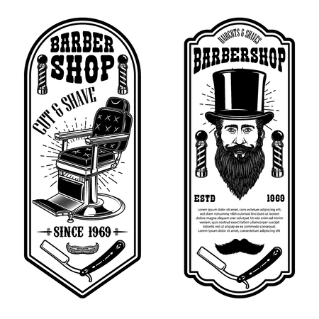 Barber shop flyer template. Barber chair and tools on white background. Design element for emblem, sign, poster, card, banner. Vector illustration Ilustração