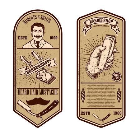 Barber shop flyer template. Barber  tools on grunge background. Design element for emblem, sign, poster, card, banner. Vector illustration Illustration
