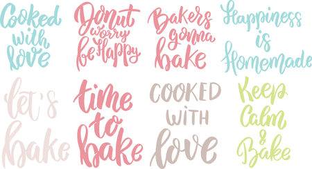 Time to bake, donut worry be happy, cooked with love. lettering phrase on white background. Design element for poster, card, banner. Vector illustration