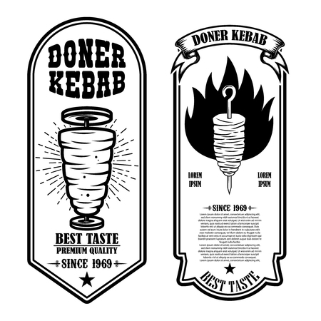 Set of vintage doner kebab flyer templates. Design element for logo, label, emblem, sign, badge. Vector illustration 向量圖像