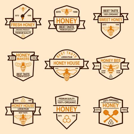 Ensemble de modèle d'étiquettes de miel. Icônes d'abeilles. Élément de design pour logo, étiquette, emblème, signe, affiche. Illustration vectorielle