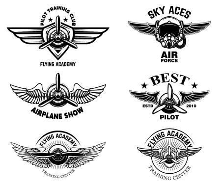 Set of vintage airplane show emblems. Design elements for logo, label, sign, menu. Vector illustration