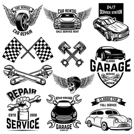 Set di emblemi di stazioni di servizio per auto ed elementi di design. Per logo, etichetta, segno, banner, t-shirt, poster. Illustrazione vettoriale