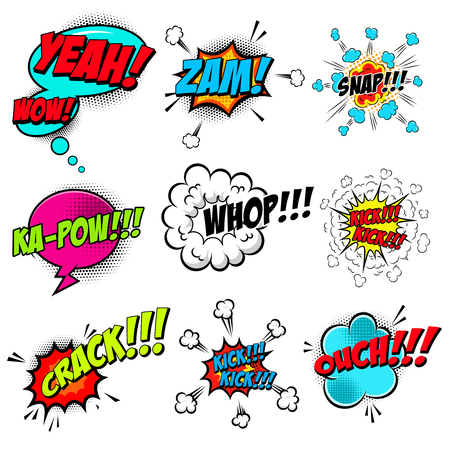 set of comic style speech bubbles with sound text effects. Design element for poster, card, banner, flyer. Vector illustration