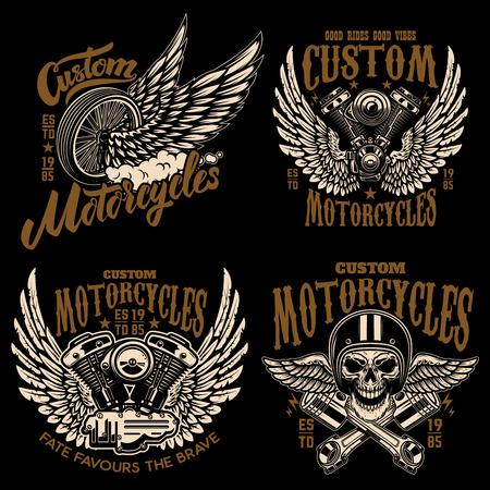 Ensemble de modèles d'emblème de coureur avec moteur de moto, roues. ailes. Élément de design pour logo, étiquette, emblème, signe, affiche, t-shirt. Illustration vectorielle