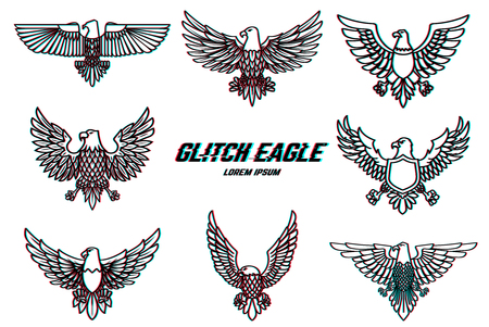 Set of eagle illustration in line style with glitch effect. Design element for logo, label, emblem, sign, poster. Vector illustration