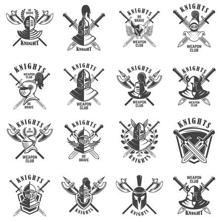 Set of emblems with knights, swords and shields. Design element for logo, label, emblem, sign, poster, t shirt. Vector illustration Illusztráció