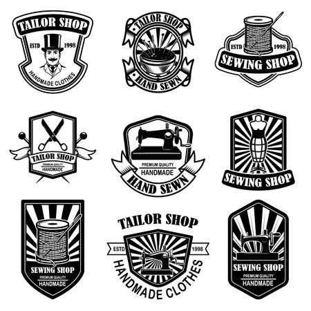 Set of vintage tailor shop emblems. Design elements for logo, label, sign, badge. Vector illustration