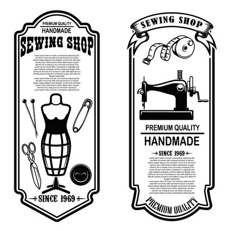 Vintage Schneiderei Flyer Vorlagen. nähen, schneidern Werkzeuge. Gestaltungselemente für Logo, Label, Schild, Abzeichen. Vektor-Illustration Logo