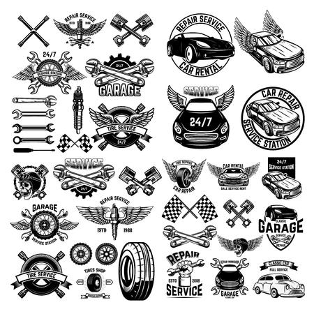 Zestaw emblematów stacji obsługi samochodów i elementów projektu. Na logo, etykietę, znak, baner, koszulkę, plakat. Ilustracja wektorowa