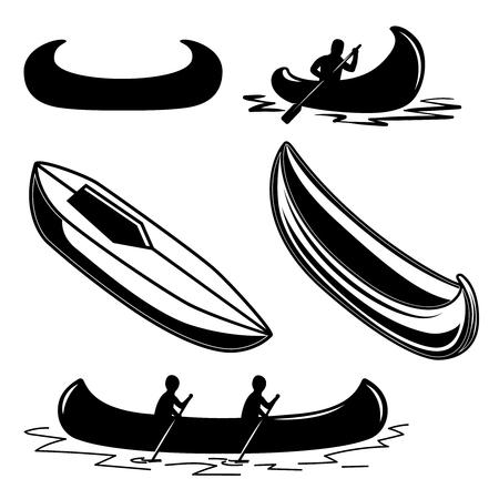 Conjunto de iconos de canoa. Elemento de diseño de logotipo, etiqueta, emblema, letrero, insignia. Ilustración vectorial Logos