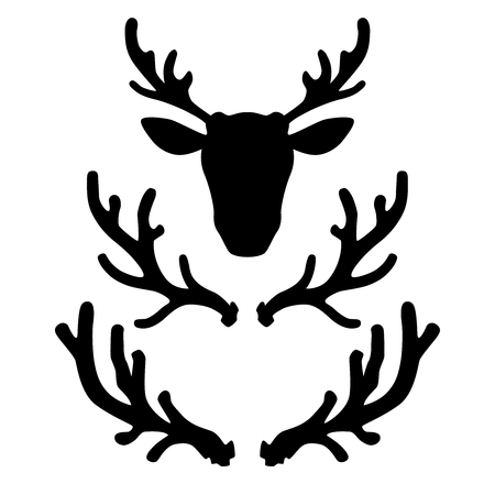 Set of deer horns. Design element for logo, label, emblem, sign, badge. Vector illustration Ilustração