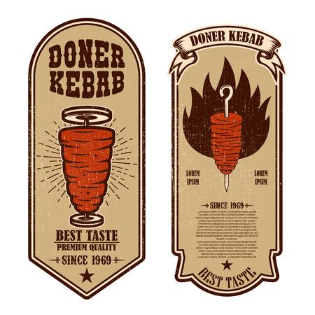 Set vintage döner kebab flyer sjablonen. Ontwerpelement voor logo, label, embleem, teken, badge. vector illustratie