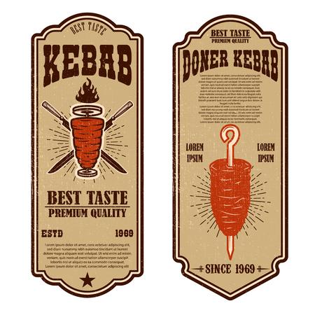Set of vintage doner kebab flyer templates. Design element for logo, label, emblem, sign, badge. Vector illustration Stock Vector - 126082754