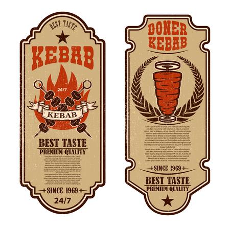 Set of vintage doner kebab flyer templates. Design element for logo, label, emblem, sign, badge. Vector illustration Illustration