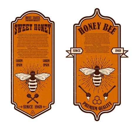 Vintage natural honey flyer templates. Design elements for logo, label, sign, badge. Vector illustration Ilustração