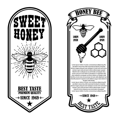 Vintage natural honey flyer templates. Design elements for logo, label, sign, badge. Vector illustration Иллюстрация