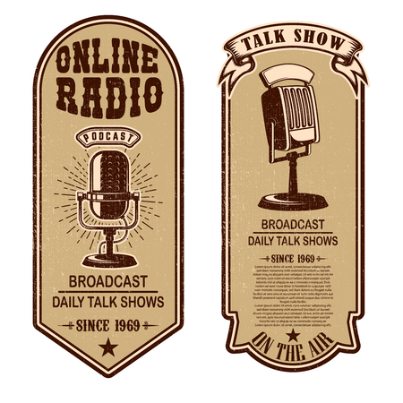 Set of vintage podcast, radio flyers with microphone. Design element for logo, label, sign, badge, poster. Vector illustration