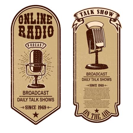 Set of vintage podcast, radio flyers with microphone. Design element for logo, label, sign, badge, poster. Vector illustration