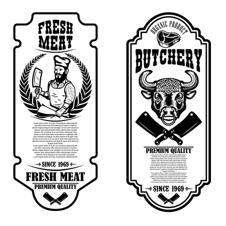 Zestaw ulotek sklep mięsny i rzeźnia vintage. Element projektu logo, etykieta, znak, odznaka, plakat. Ilustracja wektorowa
