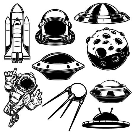 Set of space design elements. Spaceman, shuttle, ufo, satellite. For logo, label, emblem, sign. Vector illustration