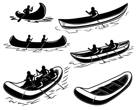 Conjunto de canoa, bote, balsa ilustración. Elemento de diseño de cartel, emblema, letrero, cartel, camiseta. Ilustración vectorial Ilustración de vector