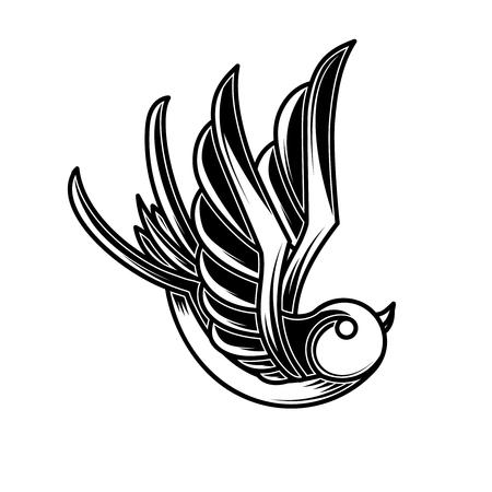 Vintage swallow illustration in engraving style. Design element for poster,card, sign, emblem, t shirt. Vector illustration Illustration