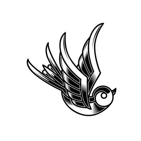 Vintage Schwalbenillustration im Gravurstil. Gestaltungselement für Poster, Karte, Schild, Emblem, T-Shirt. Vektor-Illustration