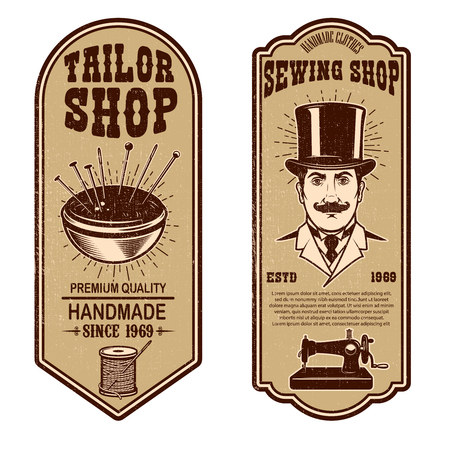 Vintage krawiec szablony ulotki sklep. szyć, krawiec narzędzia. Elementy projektu logo, etykieta, znak, odznaka. Ilustracja wektorowa