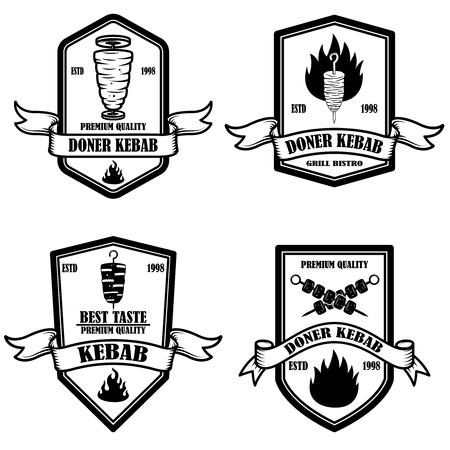 Set vintage döner kebab etiketten. Ontwerpelement voor logo, label, embleem, teken, badge. vector illustratie